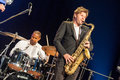 Till bronner quintet at kaunas jazz lithuania april musician magnus lindgren and drummer david haynes performs the stage of Stock Photo