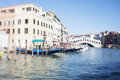 Tilt shift photo of view of Realto bridge in Venice with film ef Royalty Free Stock Photo