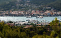 Tilt shift view over harbor Royalty Free Stock Photo