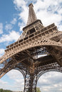 Tilted eiffel tower from beneath in paris Royalty Free Stock Photos