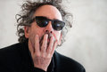 Tim burton famous american film director during press conference in prague czech republic march Stock Image