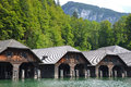 Timber boat sheds houses in germany Royalty Free Stock Photography