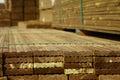 Timber decking stack stacked in lumber yard Stock Photos