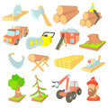 Timber industry icons set, cartoon ctyle Royalty Free Stock Photo