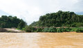 Timber logging site along sarawak rejang river camp malaysia Stock Photo