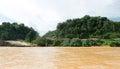 Timber logging site along sarawak rejang river camp malaysia Stock Photo