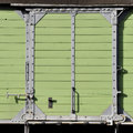 Timber mint green sliding door a of a vintage train freight car Royalty Free Stock Photography