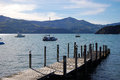 Timber pier Akaroa bay Royalty Free Stock Photo