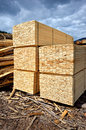 Timber stock supply piles of from the fir wood Stock Images