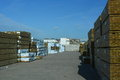 Timber yard large beside the harbour at shoreham uk Royalty Free Stock Photography