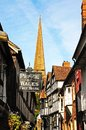 Timbered buildings, Church Lane, Ledbury. Royalty Free Stock Photo