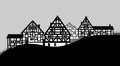 Timbered house illustration of houses of a small village Stock Image
