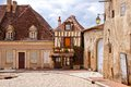 Timbered house on a quaint street in Burgundy, France Royalty Free Stock Photo