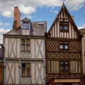 Timbered houses angers france facades of medieval Royalty Free Stock Photo
