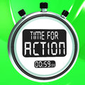 Time for action clock shows to inspire and motivate showing Royalty Free Stock Photo