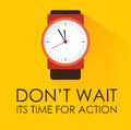 Time for action and dont wait concept stopwatch clock ticking on dark yellow background modern flat design negative space on Stock Image