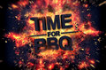 Time for bbq fiery poster design with dramatic orange flames and explosive sparks on a dark background around black text Royalty Free Stock Photography