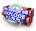 Time bomb this message will explode countdown deadline in seconds words on a as a limited offer or exclusive information in a or Royalty Free Stock Photos