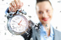 Time business illustration clock hands businesswoman Stock Photo