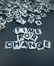Time for change in letter tiles black Royalty Free Stock Photo