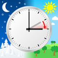 Time change to daylight saving time vector illustration of a clock switch summer Royalty Free Stock Photos