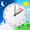 Time change to daylight saving time vector illustration of a clock switch summer Royalty Free Stock Images