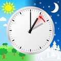 Time change to standard time vector illustration of a clock return Stock Photo