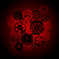 Time Clock Gears Clipart on Red Background Royalty Free Stock Image