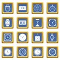 Time and Clock icons set blue