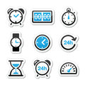 Time clock icons set different type of measuring labels isolated on white Stock Photos
