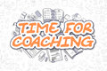 Time For Coaching - Cartoon Orange Text. Business Concept.