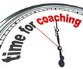 Time for coaching clock mentor role model learning the words on a to illustrate the need to learn or be trained by a coach teacher Royalty Free Stock Photography