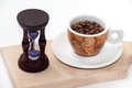Time for coffee concept with hourglass Stock Image