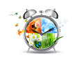Time concept alarm clock with four seasons image Royalty Free Stock Photos