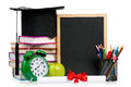 Time concept back to school school accessories isolated on white background Stock Images