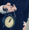 Time concept. Business woman clock Stock Image