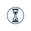 Time conceptual stylized icon. Old-fashioned hourglass isolated Royalty Free Stock Photo