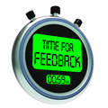 Time for feedback means opinion evaluation and surveys meaning Stock Photo