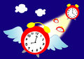 Time flies illustrated with alarm clock with wings Royalty Free Stock Image