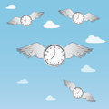 Time flies illustration of the concept of with clocks having wings and flying through clouds Royalty Free Stock Images