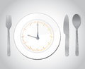 Time for food concept illustration over a grey background Royalty Free Stock Photo