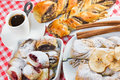 Time for full enjoyment cakes and coffee Royalty Free Stock Photo