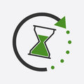 Time icon. Flat vector illustration with hourglass on white back