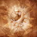 Time lady classical robed female figure centred in an antique clock dial against a sepia tone marble background denoting Stock Photography