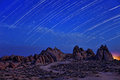 Time Lapsed Star Trails at the Alabama Hills in California Royalty Free Stock Photo