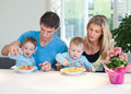 Time for lunch little twins Royalty Free Stock Photos