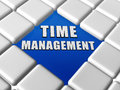 Time management in boxes d letters over blue between grey keyboard business organization concept words Royalty Free Stock Images