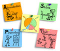 Time management chart illustration on a colorful notes. Royalty Free Stock Photo