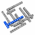Time management concept of crossword made up of blocks on clean surface words in blue Royalty Free Stock Photos