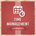 Time management concept in flat design on red striped background vintage Stock Photo